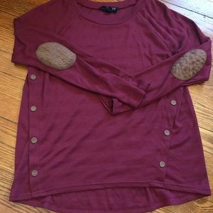 Tops - Burgundy Elbow Patch Side Button Sweater